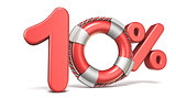 Life buoy 10 percent sign 3D
