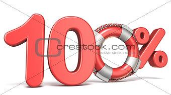 Life buoy 100 percent sign 3D