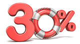 Life buoy 30 percent sign 3D