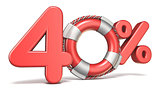 Life buoy 40 percent sign 3D