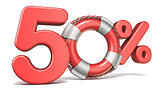 Life buoy 50 percent sign 3D