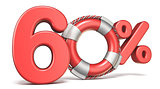 Life buoy 60 percent sign 3D