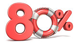 Life buoy 80 percent sign 3D