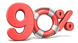 Life buoy 90 percent sign 3D