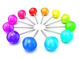 Colorful lollipops, circle arranged. 3D