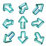 Green transparent dimensional arrows 3D