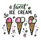 Hand drawn illustrations of ice cream with hand lettering.