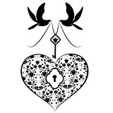 heart with key and doves