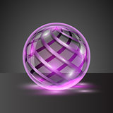 Transparent sphere with colorful stripes.
