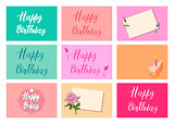 Set of bright postcards. Happy Birthday calligraphy letters on different backgrounds. Festive typography vector designs for greeting cards. Ready templates