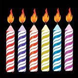 Set of Colorful Burning Retro Candles