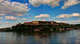 Panoramic view to Petrovaradin fortress and Danub river in Novi Sad, Serbia