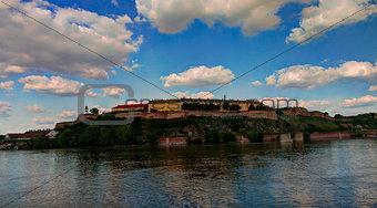 Panoramic view to Petrovaradin fortress and Danub river in Novi Sad, Serbia