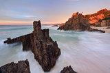Ocean flows around volcanic sea stacks