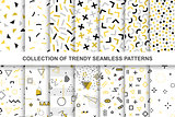 Collection of swatches memphis patterns - seamless design. Fashion 80-90s. Abstract trendy vector backgrounds