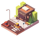 Vector isometric barber shop