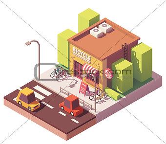 Vector isometric bicycle shop