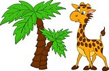Cute Giraffe and palm tree. Vector illustration