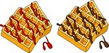 Waffles topped with berry syrup and chocolate. Vector illustration.