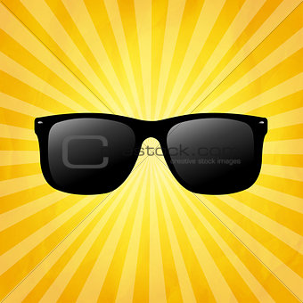Crumpled Yellow Sunburst Background With Sunglasses