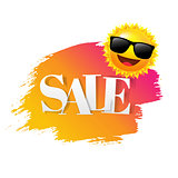 Sale text With Paint Sun And Suglasses