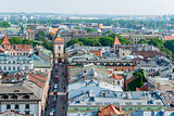The city of Krakow from a height and view of the Florian Gates i