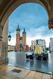 market square in the center of the city of Krakow. Shopping arca