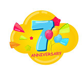 Cute Cartoon Template 7 Years Anniversary Vector Illustration
