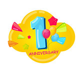 Cute Cartoon Template 1 Years Anniversary Vector Illustration