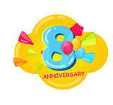 Cute Cartoon Template 8 Years Anniversary Vector Illustration