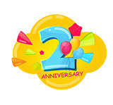 Cute Cartoon Template 2 Years Anniversary Vector Illustration