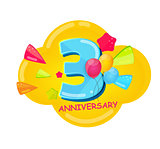 Cute Cartoon Template 3 Years Anniversary Vector Illustration