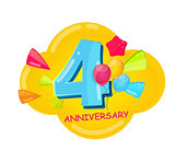 Cute Cartoon Template 4 Years Anniversary Vector Illustration