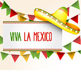 Banner viva la Mexico - sombrero and party triangle bunting flag