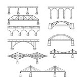 Types of bridges in linear style set - infographic icon of bridg