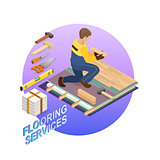 Isometric interior repairs concept. Builder is laying parquet.