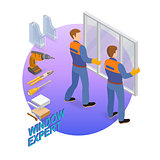 Isometric interior repairs concept. The workers install window.