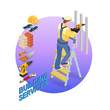 Home repair isometric template. Repairer and tools.