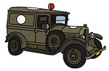 The vintage military ambulance
