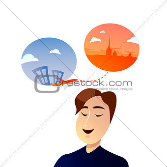 Office worker man character dreaming about vacation and travel. Vector flat cartoon illustration