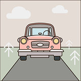 Car, road illustration. Cartoon forest landscape Vector eps 10
