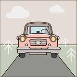 Car, road illustration. Cartoon forest landscape Vector eps 10