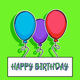 happy birthday card with balloons over green background. vector