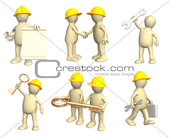 Set of puppets-builders in different situation