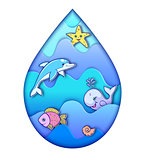 water drop with ocean animals