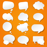 Speech Bubble Collection In Orange Background