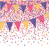 Ultra violet bunting background with confetti. Vector illustration.