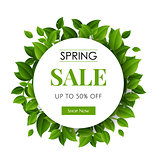 Spring Sale Text With Green Branches