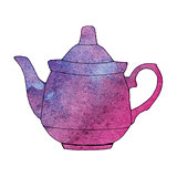 Watercolor hand drawn teapot. Vector illustration