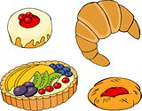 Pastry, croissants, fruit tart, bagel and jam-filled pastry